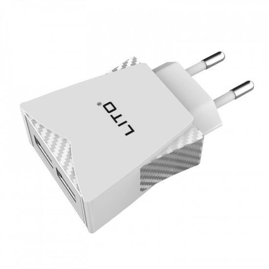 Lito 2.4A Charger - Οικιακός Φορτιστής 2.4A με 2 Θύρες USB και καλώδιο Micro USB - Λευκό - CO-201