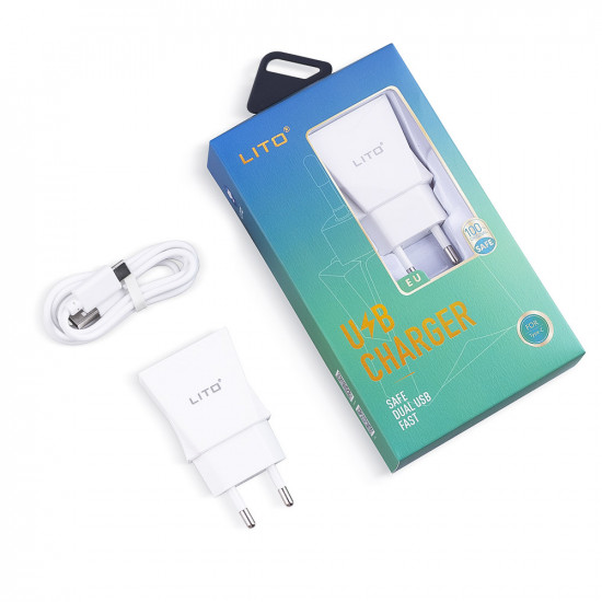 Lito 2.4A Charger - Οικιακός Φορτιστής 2.4A με 2 Θύρες USB και καλώδιο Type-C - Λευκό - CO-201