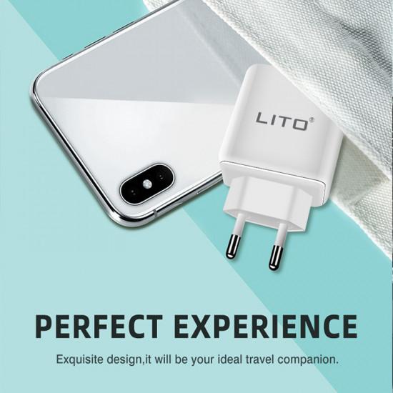 Lito 3.0A Charger - Οικιακός Φορτιστής Γρήγορης Φόρτισης Quick Charge 3.0A με καλώδιο Lightning - Λευκό - QO-101