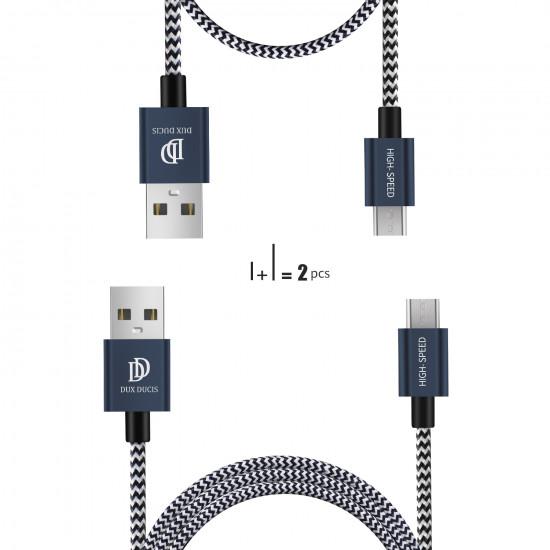 Dux Ducis K-II 2.1A - Δύο Καλώδια Δεδομένων και Φόρτισης Micro USB 1m και 20cm - Blue
