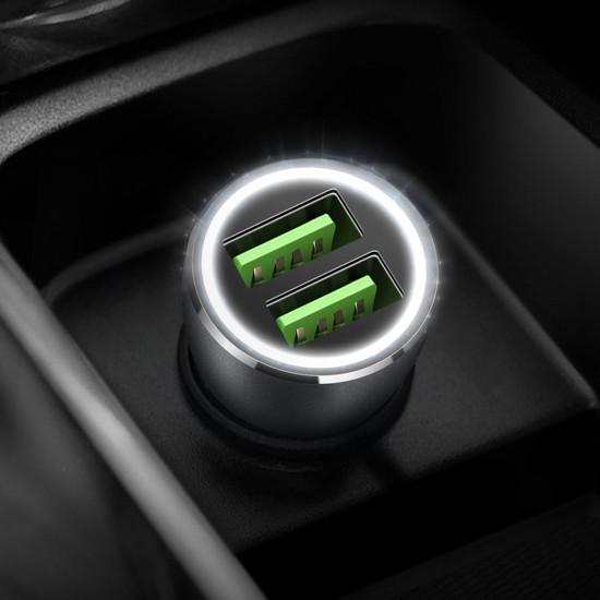 Dux Ducis B10 Car Charger - Φορτιστής Αυτοκινήτου Γρήγορης Φόρτισης Quick Charge 3.0 3A 2xUSB Ports - Grey