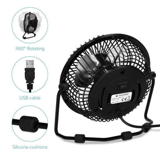 Navaris Mini Silent Cooling Desk USB Fan - Μίνι Ανεμιστήρας Γραφείου USB - Black - 48932.01