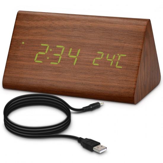 Kwmobile Digital Alarm LED Clock - Ψηφιακό Επιτραπέζιο Ρολόι και Ξυπνητήρι - Brown - Green LED - 40798