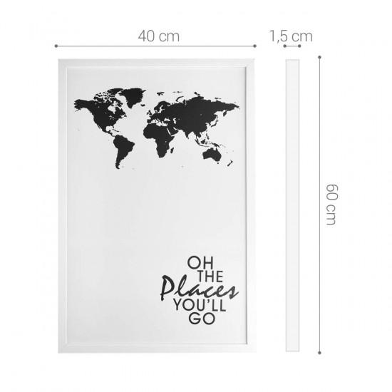 Navaris Μαγνητικός Πίνακας - 40 x 60 cm - Design World Map - White / Black - 45383.01