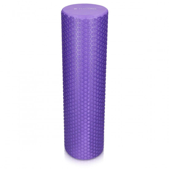 Navaris EVA Foam Roller for Exercise, Pilates, Yoga, Stretching, Muscle Massage - Κύλινδρος Γυμναστικής - 90cm - Purple - 45380.38