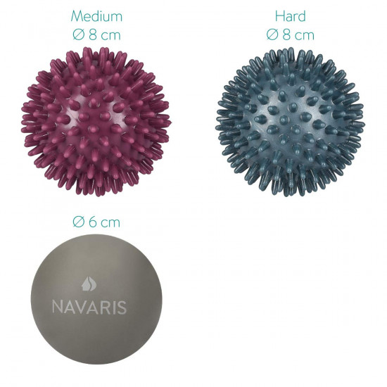 Navaris Lacrosse and Spiky Massage Balls Set of 3 - Μπάλες Μασάζ για πριν ή μετά την άθληση - Grey / Blue / Purple - 46952.13.78