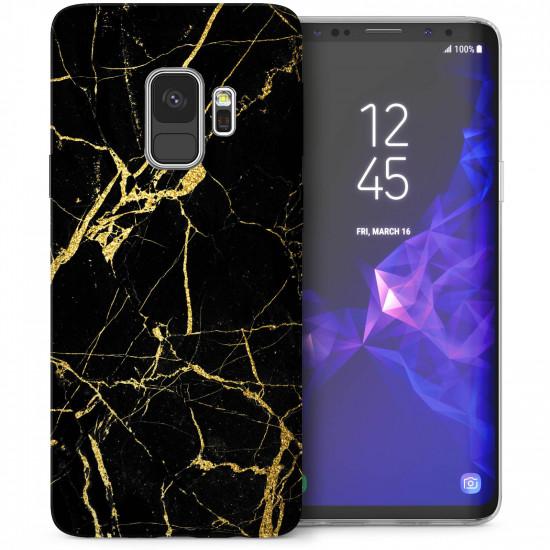 Caseflex Apple iPhone XR Θήκη Σιλικόνης TPU - Marble - Black / Gold