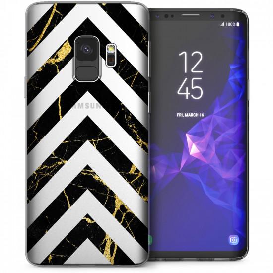 Caseflex Samsung Galaxy S9 Θήκη Σιλικόνης TPU - Marble Arrows - Black / Gold - Διάφανη