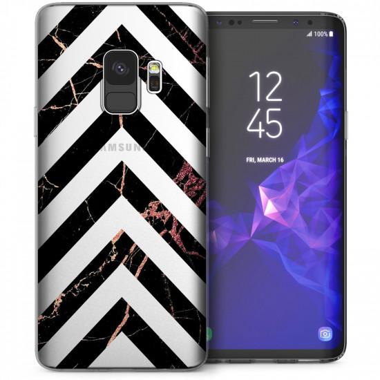 Caseflex Samsung Galaxy S9 Θήκη Σιλικόνης TPU - Marble Arrows - Black / Rose Gold - Διάφανη