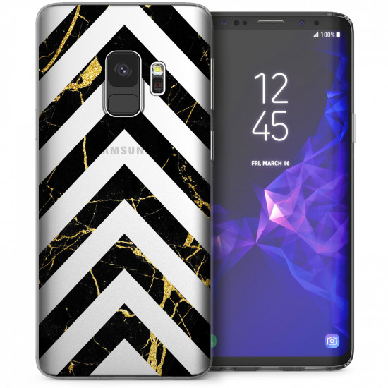 Caseflex Samsung Galaxy Note 9 Θήκη Σιλικόνης TPU - Marble Arrows - Black / Gold - Διάφανη