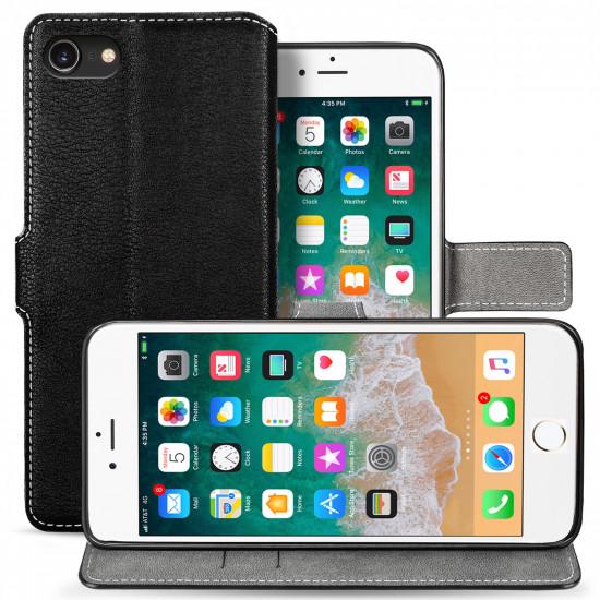 Centopi Apple iPhone 7 / 8 Slim PU Leather Θήκη Πορτοφόλι Stand από Συνθετικό Δέρμα - Black - CEN-APP-220