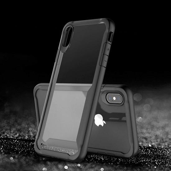 Centopi Apple iPhone XS Max Σκληρή Θήκη με Πλαίσιο Σιλικόνης - Black - Διάφανη - CEN-APP-537