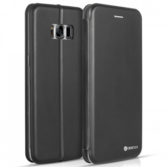 Caseflex Samsung Galaxy S8 Plus Snap Wallet Θήκη Πορτοφόλι Stand - Black - SA-EA09-Z641