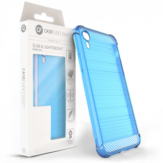 Caseflex Apple iPhone XR Θήκη Σιλικόνης TPU Carbon Fiber - Light Blue - Διάφανη - CS000020AP