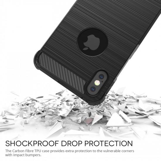 Caseflex Apple iPhone XS Θήκη Σιλικόνης TPU Carbon Fiber - Black - CS000006AP