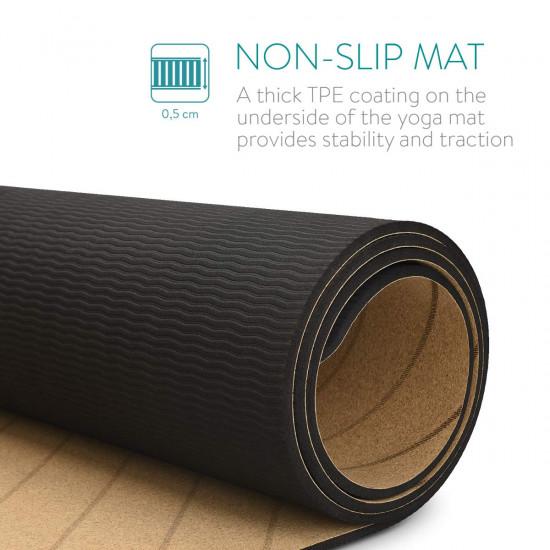 Navaris Workout Mat Στρώμα Γυμναστικής από Φελλό με Χειρολαβή - Brown - 44764.05