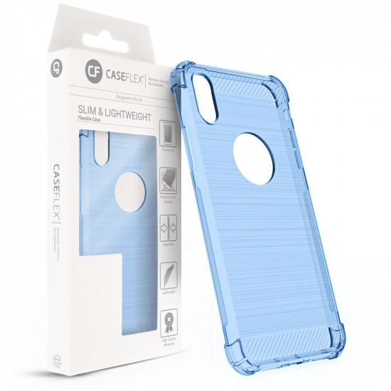 Caseflex Apple iPhone XS Θήκη Σιλικόνης TPU Carbon Fiber - Light Blue - Διάφανη - CS000008AP