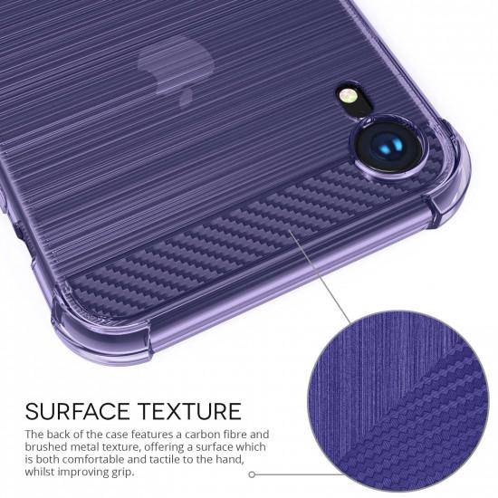 Caseflex Apple iPhone XR Θήκη Σιλικόνης TPU Carbon Fiber - Purple - Διάφανη - CS000021AP