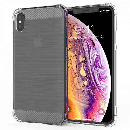 Caseflex Apple iPhone XS Max Θήκη Σιλικόνης TPU Carbon Fiber - Διάφανη - CS000028AP
