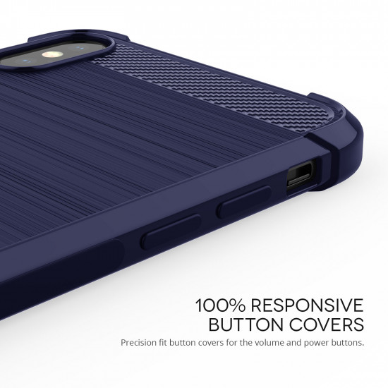 Caseflex Apple iPhone XS Max Θήκη Σιλικόνης TPU Carbon Fiber - Blue - CS000029AP