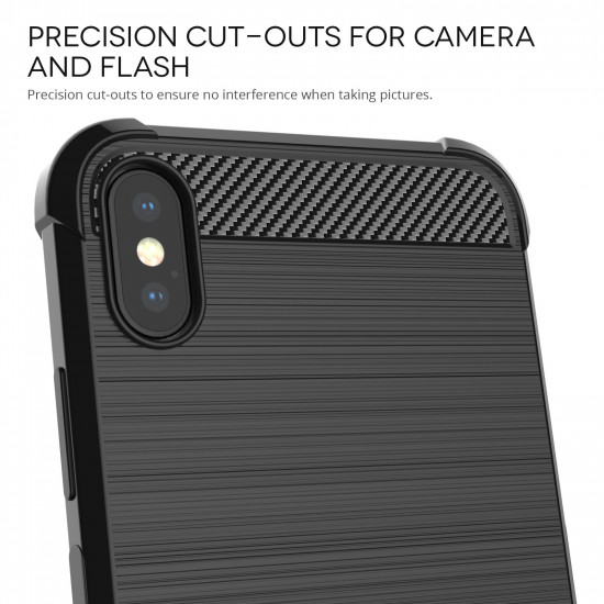 Caseflex Apple iPhone XS Max Θήκη Σιλικόνης TPU Carbon Fiber - Black - CS000030AP