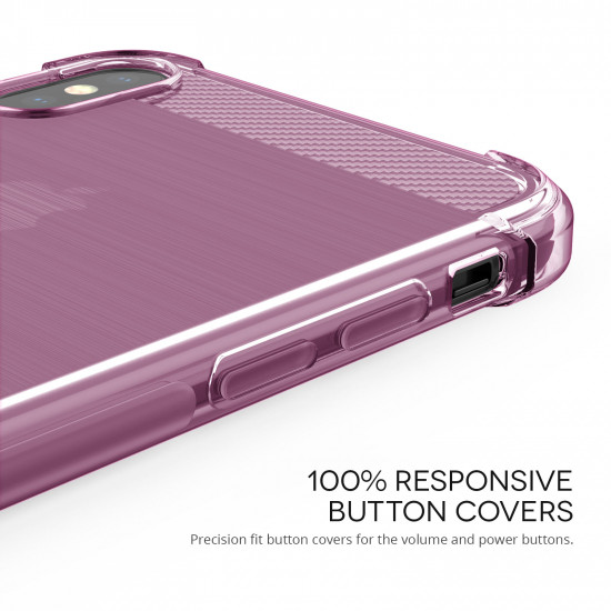 Caseflex Apple iPhone XS Max Θήκη Σιλικόνης TPU Carbon Fiber - Pink - Διάφανη - CS000031AP