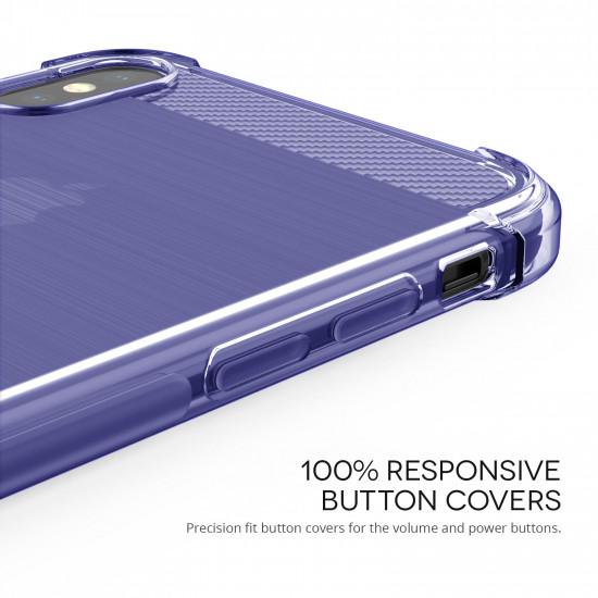 Caseflex Apple iPhone XS Max Θήκη Σιλικόνης TPU Carbon Fiber - Purple - Διάφανη - CS000033AP