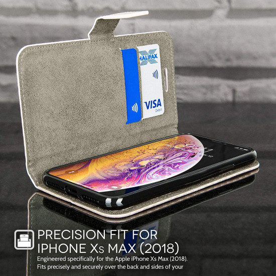 Caseflex Apple iPhone XS Max Θήκη Πορτοφόλι Stand Carbon Fiber από Συνθετικό Δέρμα - Rose Gold - CS000039AP