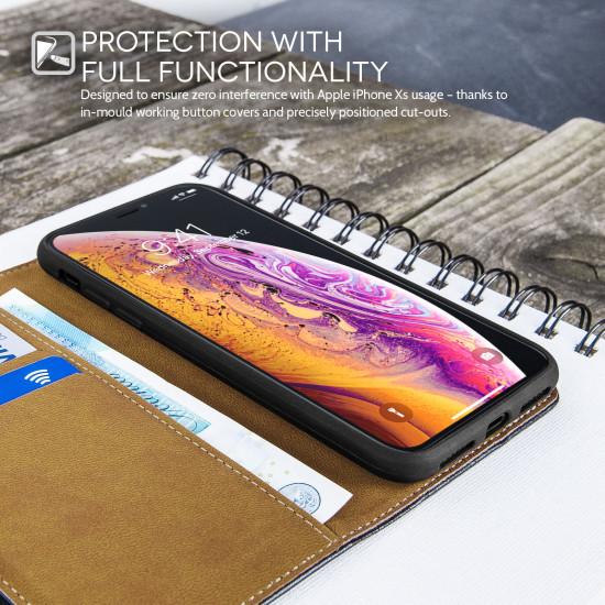 Caseflex Apple iPhone XS Real Leather Θήκη Πορτοφόλι Stand από Γνήσιο Δέρμα - Black - CS000012AP