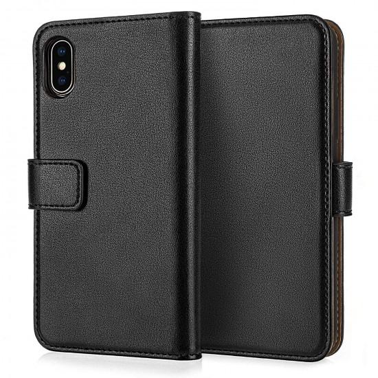 Caseflex Apple iPhone XS Max Real Leather Θήκη Πορτοφόλι Stand από Γνήσιο Δέρμα - Black - CS000036AP