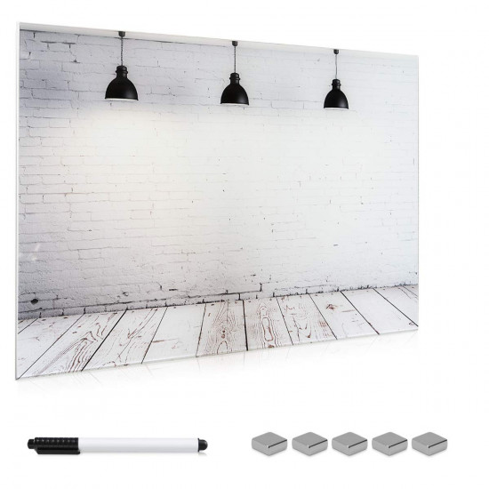 Navaris Magnetic Glass Memo Board Μαγνητικός Γυάλινος Πίνακας - 90 x 60cm - Design Industrial - 45723.06