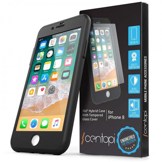 Centopi Apple iPhone 7 / 8 360 Full Cover Σκληρή Θήκη με Αντιχαρακτικό Γυαλί Οθόνης - Black - CEN-APP-230