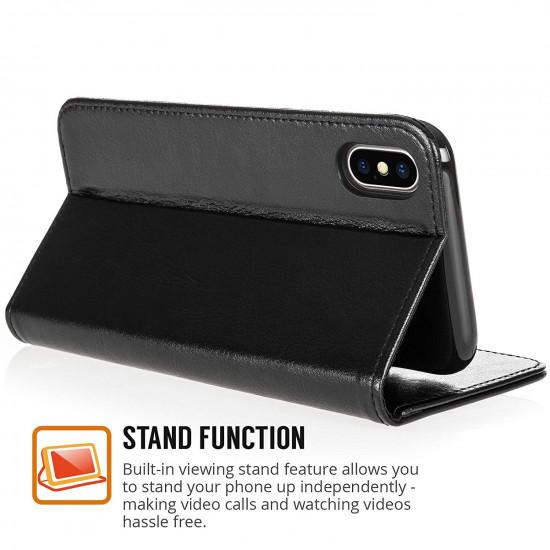 Centopi Apple iPhone X Real Leather Θήκη Πορτοφόλι Stand από Γνήσιο Δέρμα - Black - CEN-APP-109