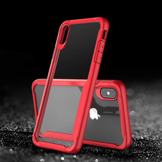 Centopi Apple iPhone XS Max Σκληρή Θήκη με Πλαίσιο Σιλικόνης - Red - Διάφανη - CEN-APP-539