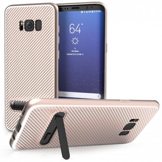 Centopi Samsung Galaxy S8 Plus Θήκη Σιλικόνης TPU Carbon με Stand - Rose Gold - CEN-SAM-286