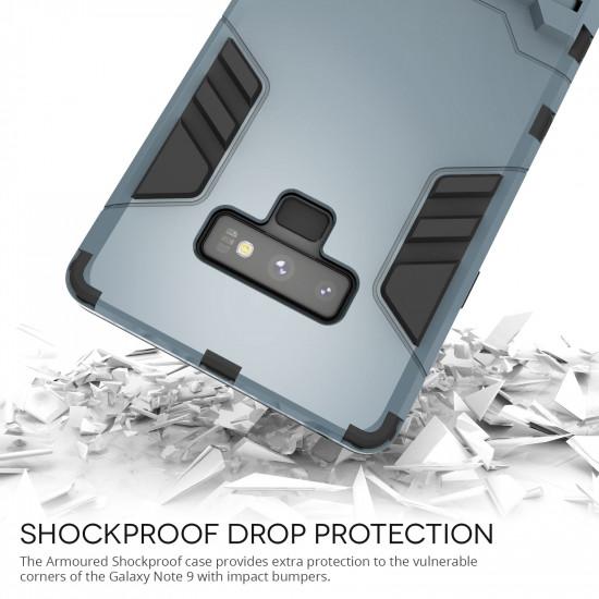 Caseflex Samsung Galaxy Note 9 Hybrid Armor Kickstand Case Σκληρή Θήκη Υψηλής Προστασίας με Πλαίσιο Σιλικόνης και Stand - Steel Blue - CS000082SA