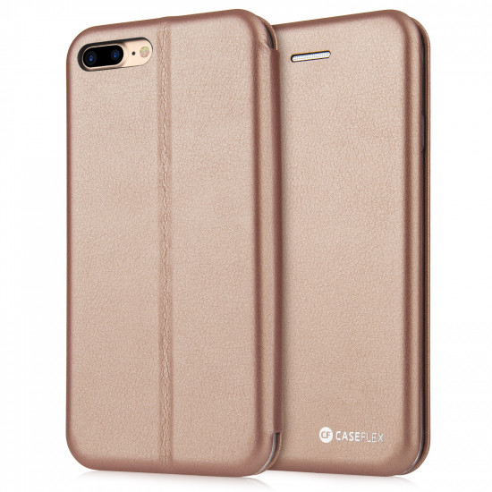 Caseflex Apple iPhone 7 Plus / 8 Plus PU Leather with Felt Lining Wallet Θήκη Πορτοφόλι Stand - Gold - AP-GA03-Z511