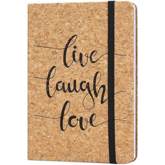 Navaris Notebook with Cork Cover Σημειωματάριο από Φελλό Design Live / Laugh / Love - 48477.05