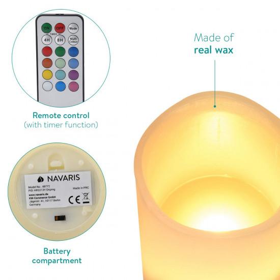 Navaris LED Candles with Colour Set 3 Κεριά με Φωτισμό Led και Τηλεχειριστήριο - Multicolor - 48772.02.03