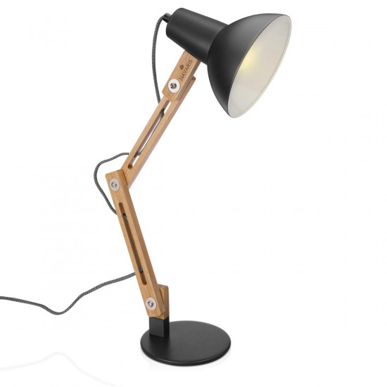 Navaris Wooden Desk Lamp Επιτραπέζιο Φωτιστικό από Ξύλο - Brown / Grey - 49125.22