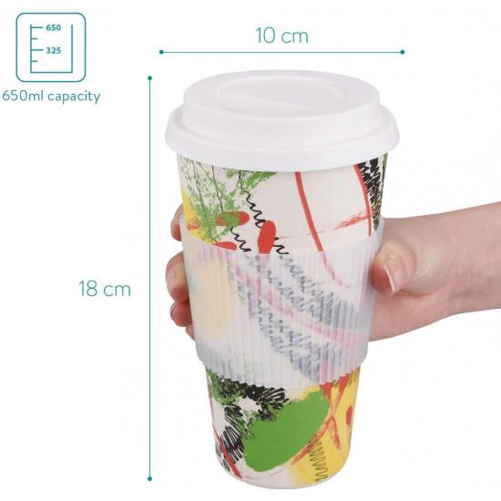 Navaris Ποτήρι Καφέ από Μπαμπού με Καπάκι Σιλικόνης και Προστατευτικό Κάλυμμα - 650ml - 47544.2.02