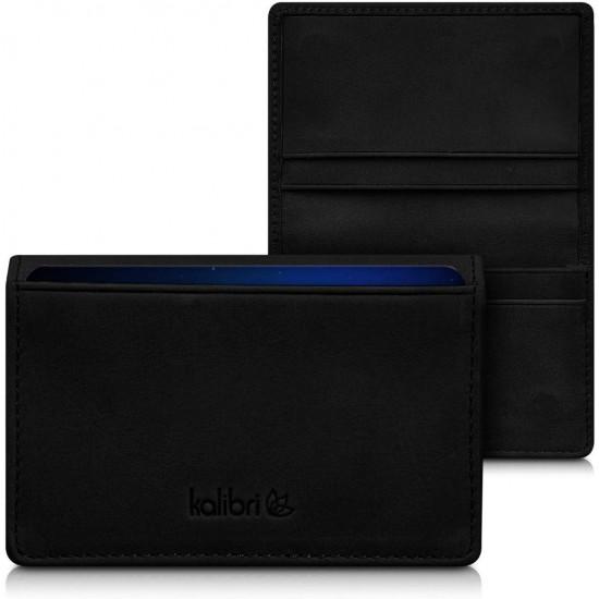Kalibri Real Leather Wallet for Cards Δερμάτινο Πορτοφόλι για Κάρτες - Για έως 60 Κάρτες - Black - 41511.01