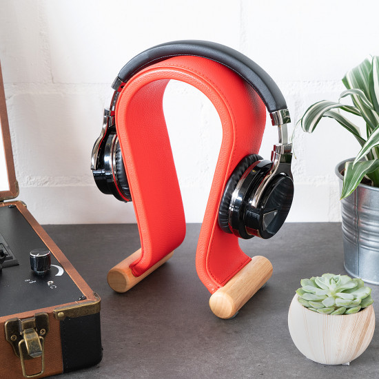 Navaris Βάση Ακουστικών από Ξύλο και Δερματίνη - Red - 48110.09