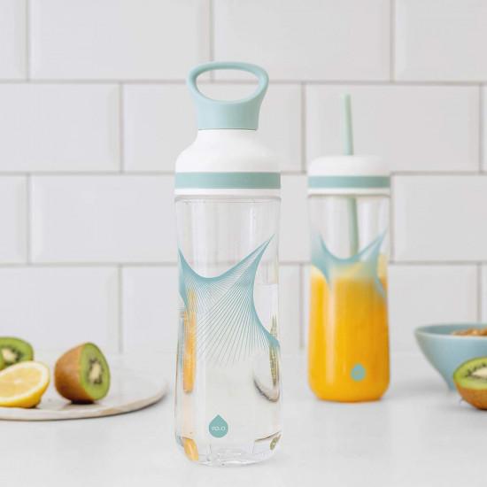 Equa Flow Wave 2in1 Πλαστικό Μπουκάλι Νερού BPA Free - 800ml - Blue / Διάφανο