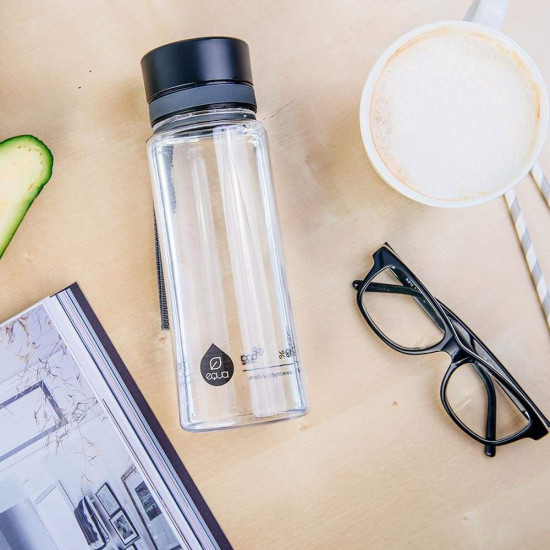 Equa Plain Πλαστικό Μπουκάλι Νερού BPA Free - 600ml - Black / Διάφανο