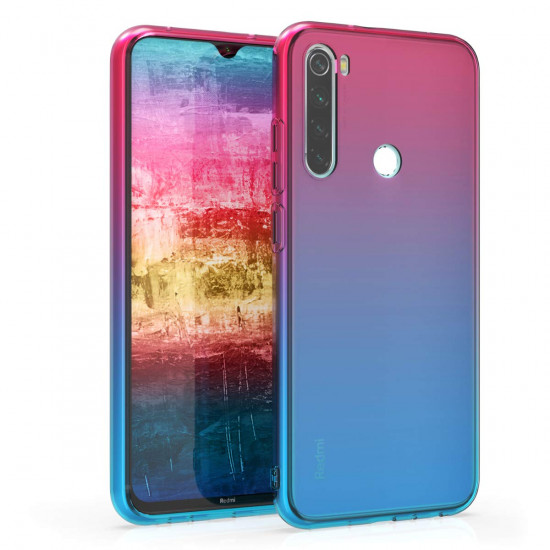 KW Xiaomi Redmi Note 8 Θήκη Σιλικόνης TPU Design Bicolor - Dark Pink / Blue - Διάφανη - 50185.01