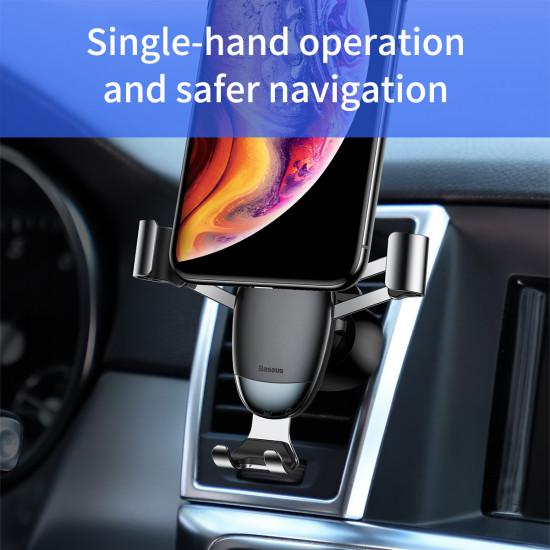 Baseus Mini Gravity Car Air Vent Mobile Holder - Universal Βάση Αυτοκινήτου Αεραγωγού - Silver - SUYL-G0S