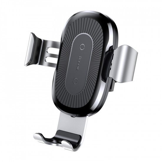 Baseus Wireless Charger Gravity Air Vent Car Holder - Universal Βάση Αυτοκινήτου Αεραγωγού με Ασύρματη Φόρτιση Qi Charge - Silver - WXYL-0S