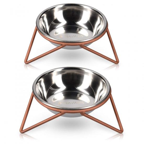 Navaris Stainless Steel Pet Bowls - Σετ με 2 Μπολ Φαγητού και Νερού με Βάση για Κατοικίδια - Silver / Copper - 46741.1.02