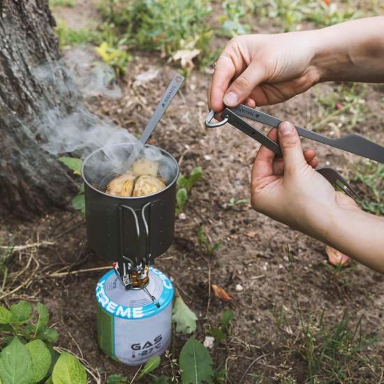Navaris Titanium Camping Cutlery Set - Φορητό Σετ με Κουτάλι, Πιρούνι και Μαχαίρι από Τιτάνιο - Grey - 46937.02